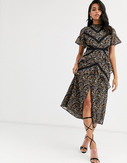 Hope & Ivy midi dress with lace panels in ditsy floral