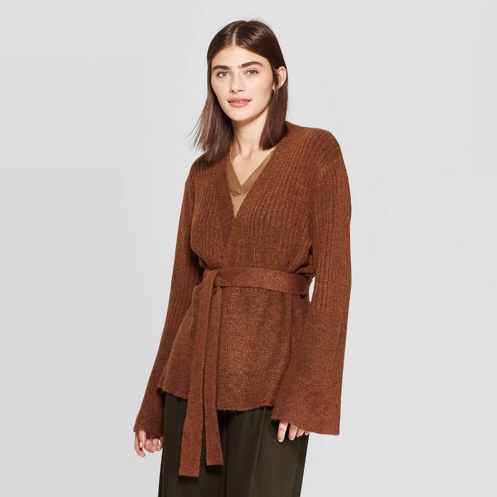 Target Prologue Long Sleeve Open-Front Belted Rib-Knit Cardigan