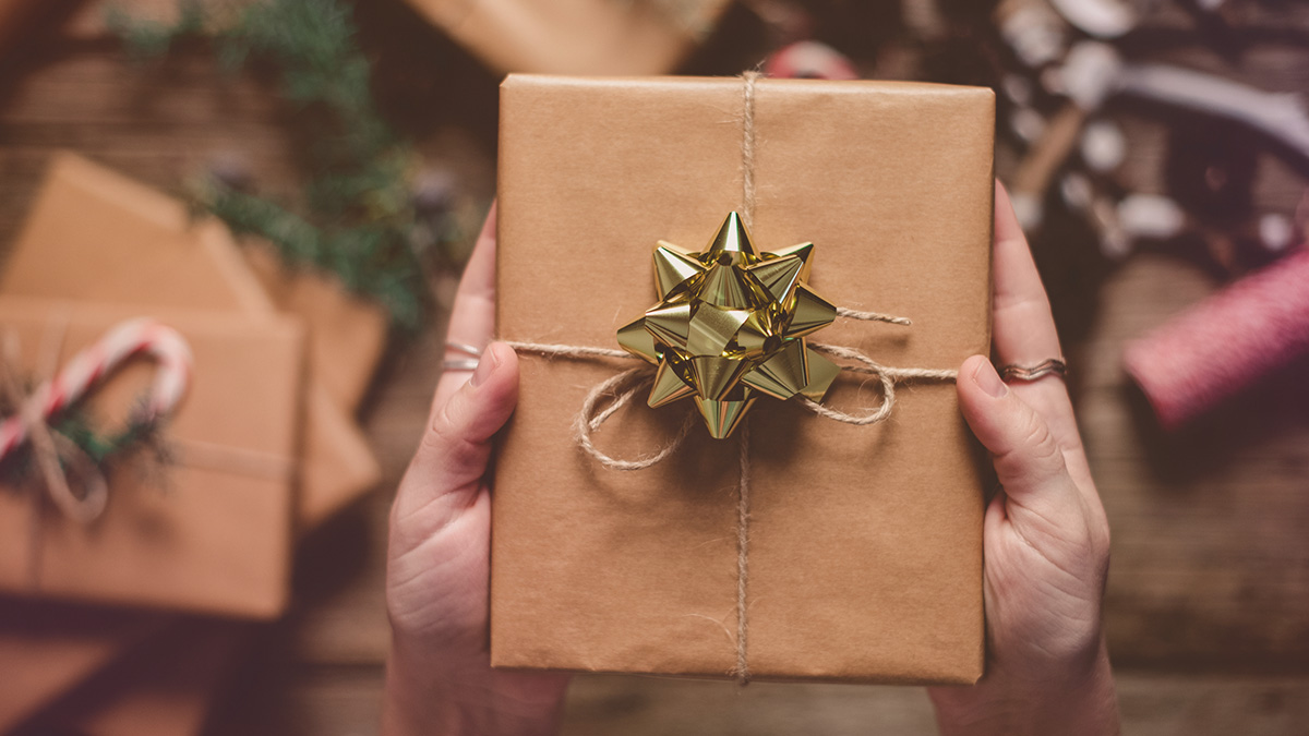 Kraft paper wrapped gift box