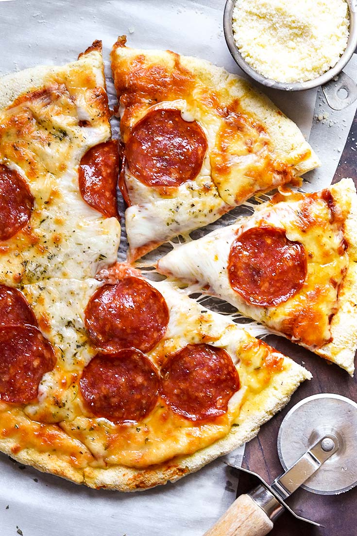 Pepperoni Pizza Made With Coconut Flour Crust