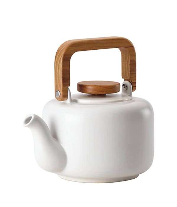 BonJour® Ceramic Coffee and Tea 8 Demitasse Cup Ceramic Teapot with Infuser, Matte White