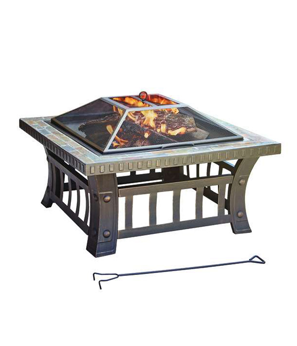 Living Accents Square Wood Fire Pit