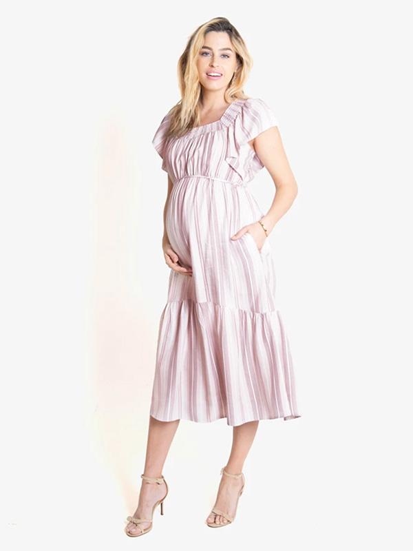 Flutter Sleeve Maternity Midi Dress