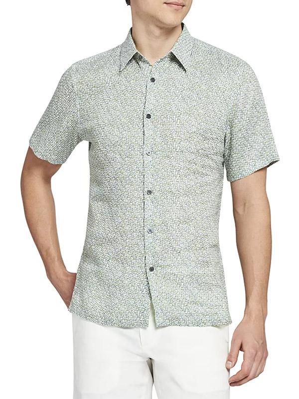 Theory Irving Short-Sleeve Woven Linen Shirt
