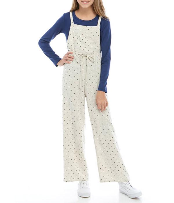 Belle du Jour Girls Oatmeal Dot Woven Jumpsuit Over Long Sleeve Navy T-Shirt - $58.00 $9.00