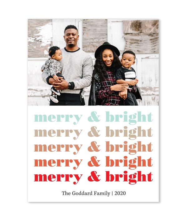 Ombre Merry And Bright Photo Flat Cards