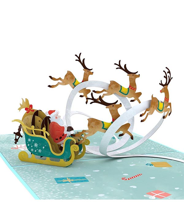 Santa Sleigh 3D Card