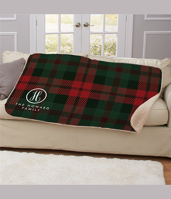 Personalized Plaid Family Name & Initial Sherpa Blanket