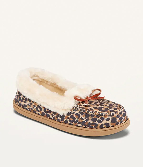 Water-Repellent Faux-Fur-Lined Moccasin Slippers