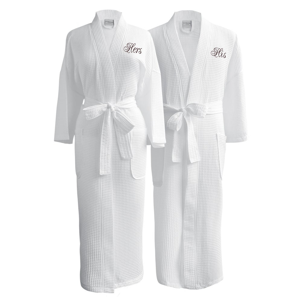 His-and-Hers Egyptian Cotton Waffle Spa Robes
