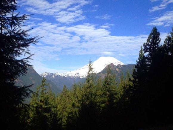 Mt. Rainier on drive to Trail