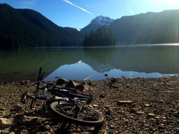 Lake Shore Landscape with Bike