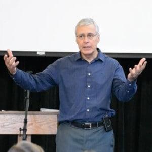Duane Beck preaching his last sermon as pastor of Raleigh Mennonite, Jan. 31, 2016