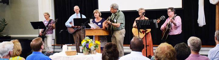 The worship team leading singing July 3, 2016
