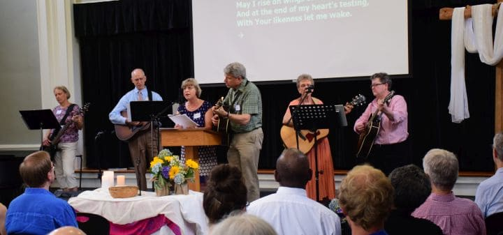 Worship team and congregation singing at Raleigh Mennonite.