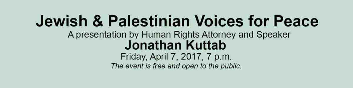 Jonathan Kuttab, human rights attorney, is speaking at RMC Friday, April 7, 2017 at 7 p.m.