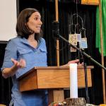 Melissa Florer-Bixler preaching at Raleigh Mennonite Feb. 18, 2018