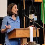 Melissa Florer-Bixler preaching at Raleigh Mennonite Feb. 18, 2018