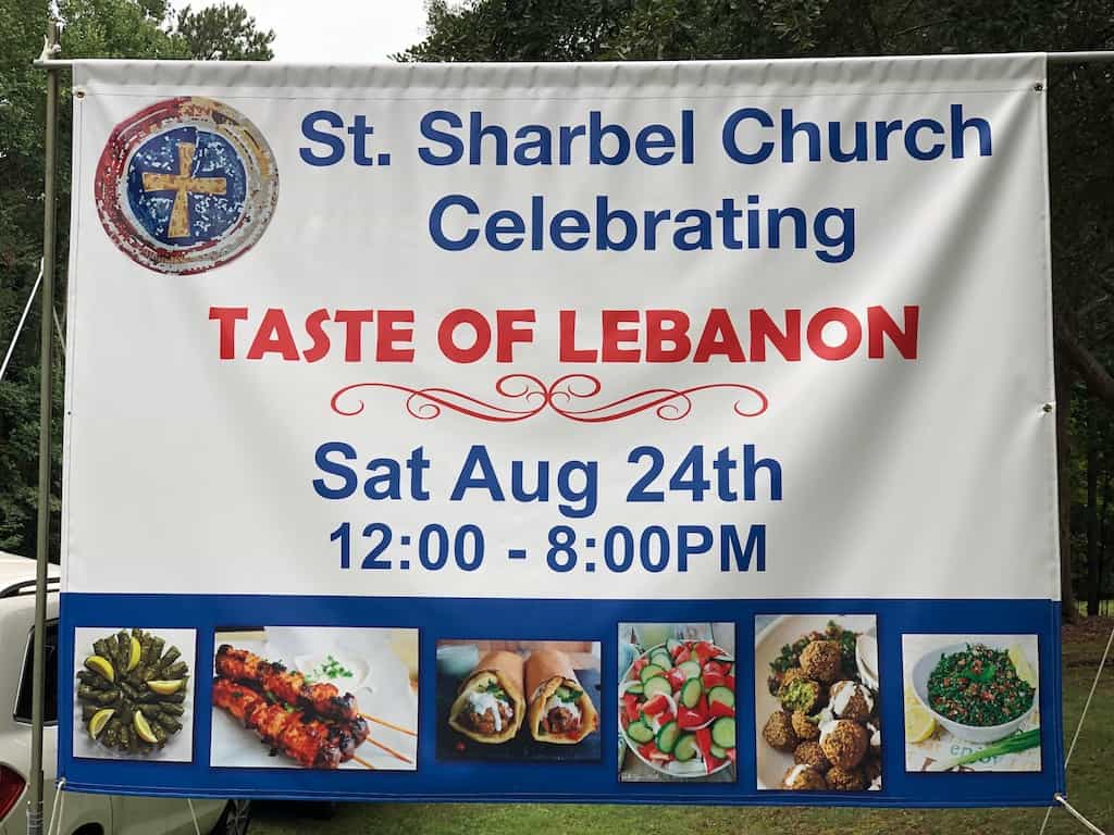 Sign advertising the St. Sharbel Taste of Lebanon festival