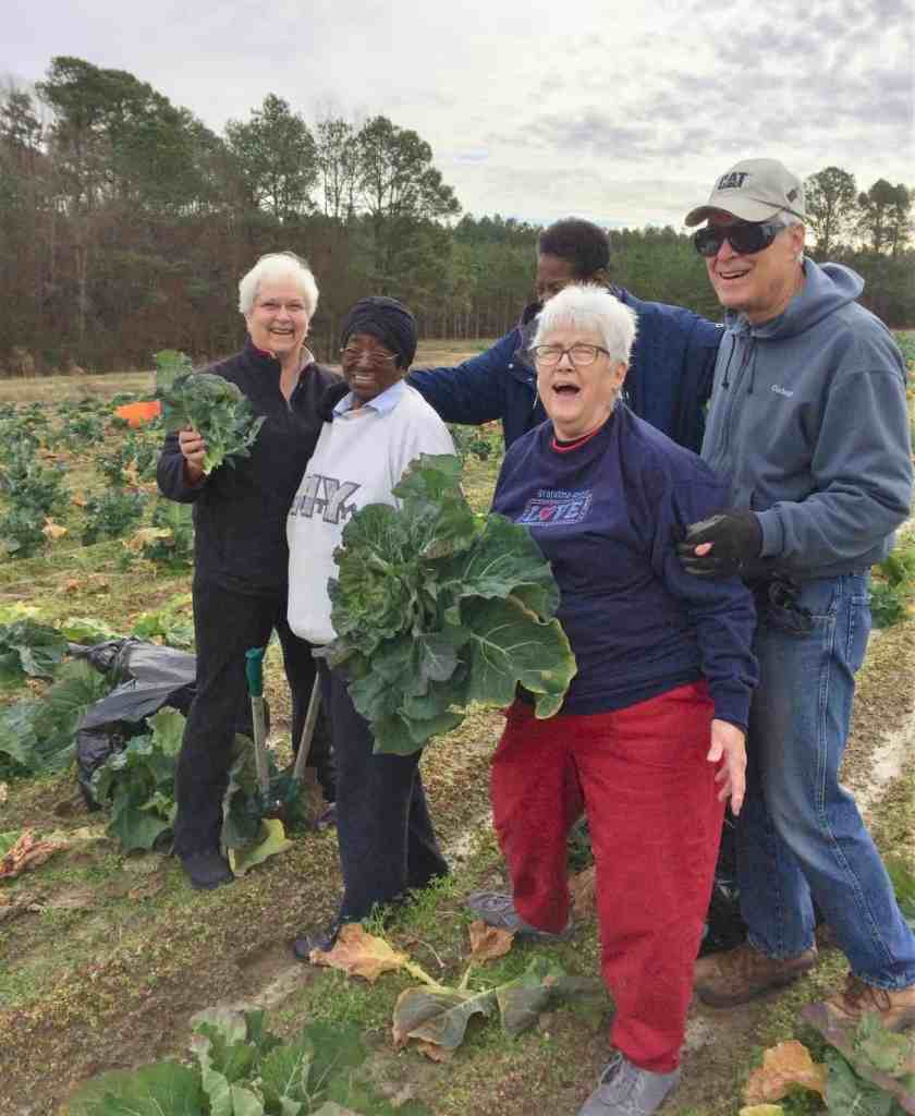 The five folks who were gleaning collards and broccoli in the middle of the field.