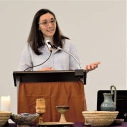 Melissa preaches at Fletcher Academy on Feb. 2, 2020, the first Sunday RMC met there.