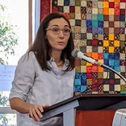 Melissa Florer-Bixler preaching at RMC service Feb. 2, 2020