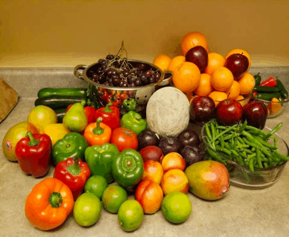 Produce rescued from a local grocer's dumpster by Craig & Jackie.