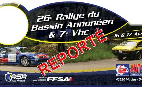 Le 26 ème Rallye du Bassin est reporté...