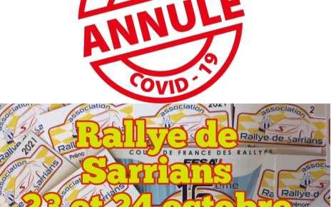 Rallye Régional de Sarrians annulé en 2021 aussi...