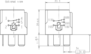 HL87530 Hella 12V 2040A Mini Relay, SPDT with Resistor