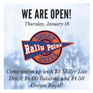 RallyPoint Will Be Open Normal Hours on Thursday, January 18, 2018
