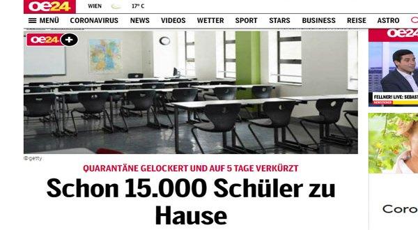 النمسا – اندلاع فيروس كورونا في المدارس – بالفعل 15000 تلميذ في الججر الصحى