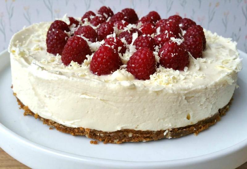 witte cheesecake chocolade frambozen
