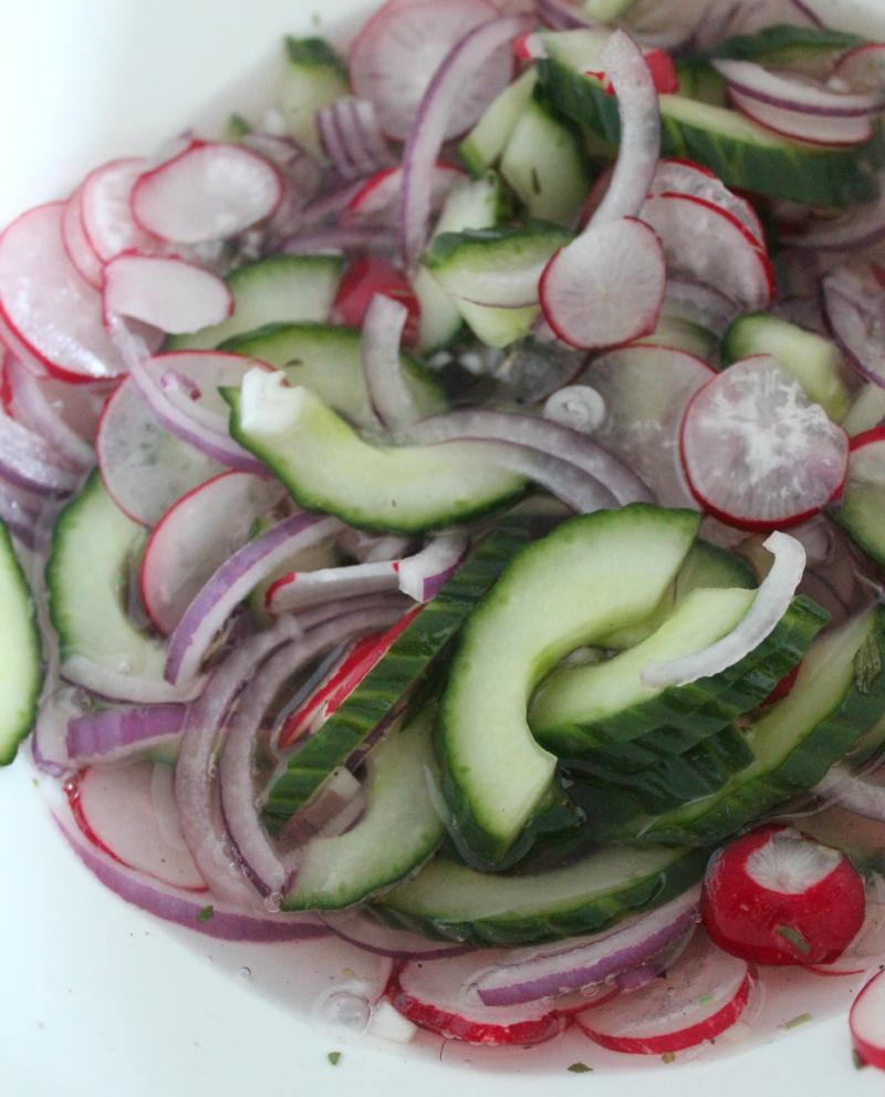 pickle zoetzure komkommersalade met radijs rode ui