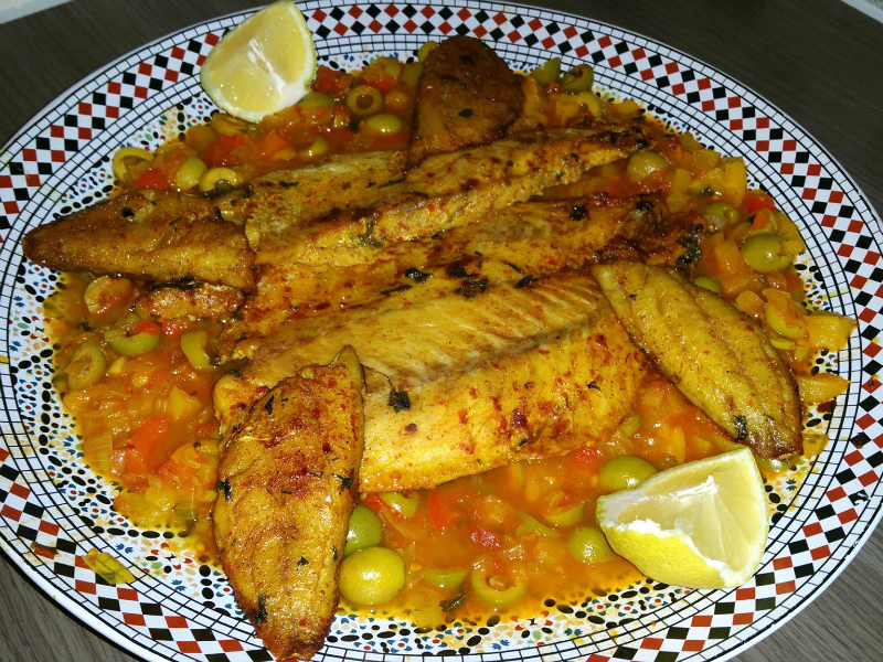 Zeebaarsfilet in Marokkaans sausje