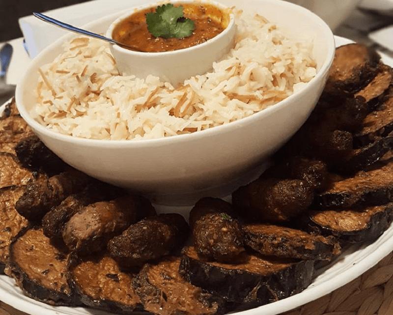 Pilav met gehakt en aubergine