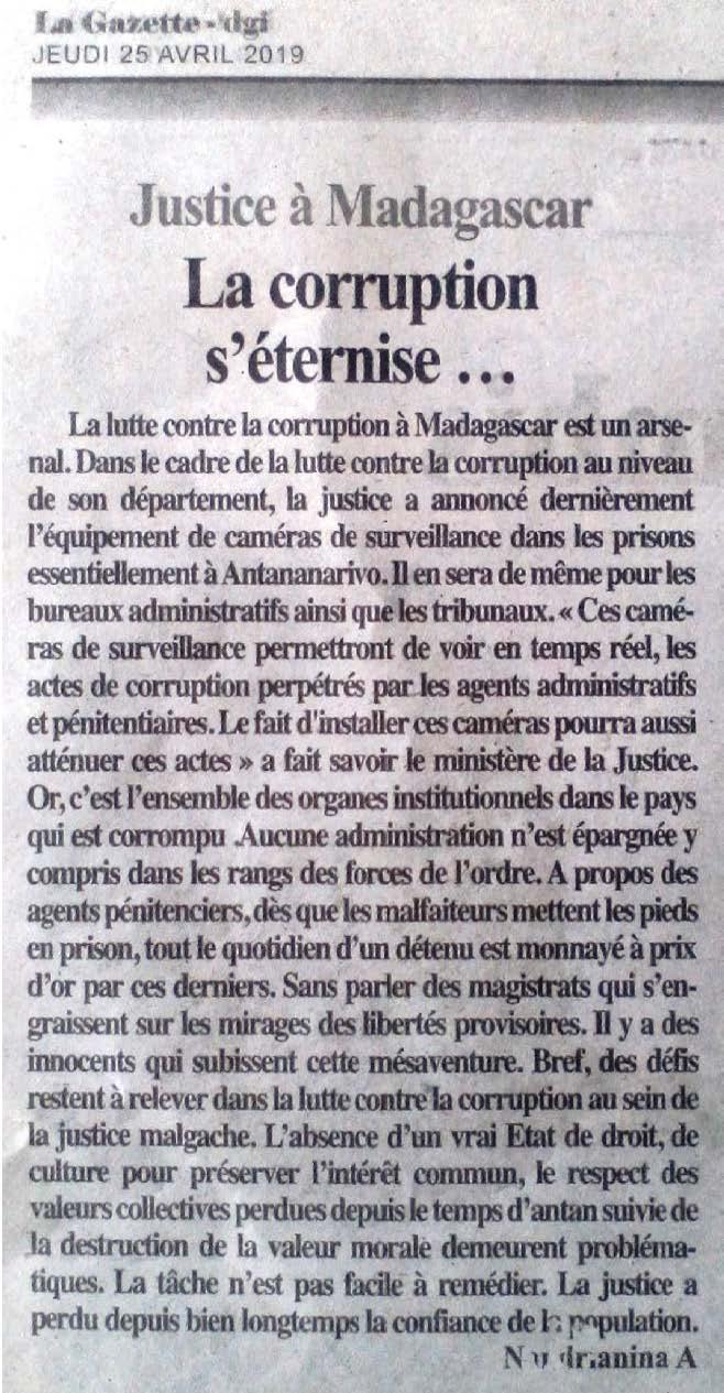 Des magistrats malgaches s'engraissent sur les mirages des libertés provisoires. Des défis restent à relever dans la lutte contre la corruption au sein de la justice à Madagascar – Lagazette-DGI du 25 avril  2019