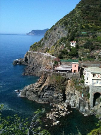 Looking back at Via del Amore and our lunchtime cafe.