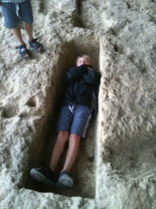 Practical archeology - Callum demonstrates his theory.