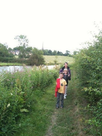 Walking the towpath.