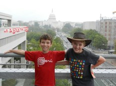 Boys in the best view in Washington - in the rain.