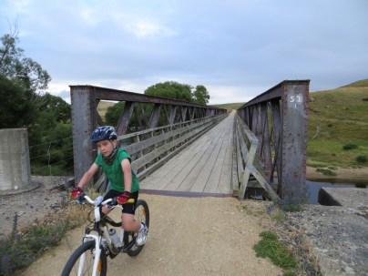Crossing a trestle bridge.