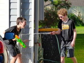 Water fight escalation.