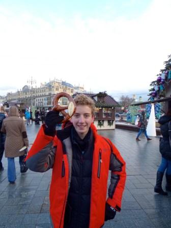 Cal with pretzel.