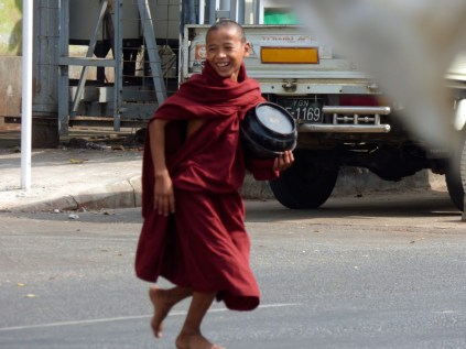Monk on the run.