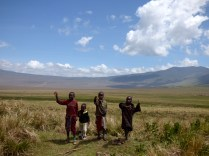Masai kids waving.