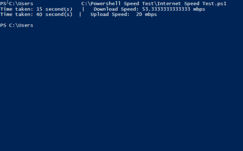 Internet speed test in powershell