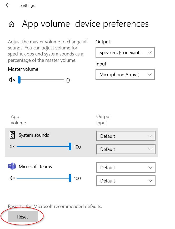 Reset App Volume Device Preferences