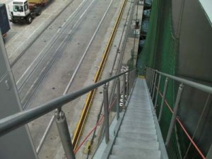 Looking down the freighter's gangway.