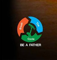logo design of arrows in a cycle with graphic of father and child